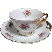 Yada Small China cup and Saucer Set with Roses and Gold Trim
