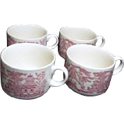 Set of 4 Pink Willow Rosa Breakfast or Soup Mugs