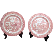 Set of Two Salad Plates Pink Willow Rosa Pattern by Churchill from England