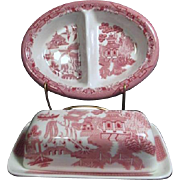 Pink Willow Rosa Divided Vegetable Bowl and Covered Butter Dish