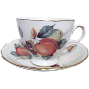 Royal Vale Bone China Cup and Saucer with Apricot Design