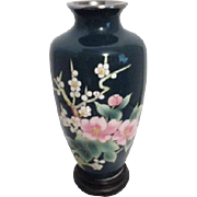 Japanese Shippo Cloisonne Green Vase with Fruit Blossoms on Wood Stand