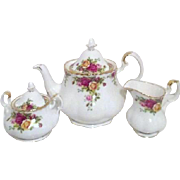 Royal Albert Old Country Roses 3 Piece Tea Set Original Box