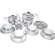 4 Place Dessert Set by Kutani Platinum Trim Tea/Coffee Pot, Cups & Saucers, & Plates, Cream &