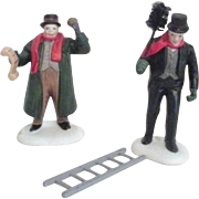 Dept 56 Christmas Heritage Village Collection Town Crier and Chimney Sweep Figures