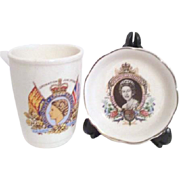 Queen Elizabeth II Glass and Small Dish
