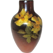 Brown Vase with Floral Design Age Crazing