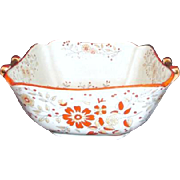 Square Serving Bowl with Handles Orange Floral