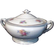 Covered Handled Vegetable Bowl by Syracuse China Floral Decoration