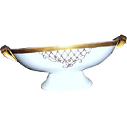 White Two Handled Footed Bowl with Gold Trim Unmarked