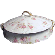 Theodore Haviland Limoges Antique Covered Vegetable Bowl Marie Pattern