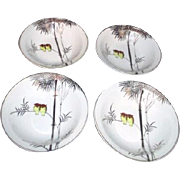 Set of 4 Kutani Hand Painted China Dessert Bowls Two Owls in Platinum Bamboo