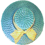 California Pottery Straw Hat Wall Pocket Signed