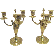 Pair of Brass Tri-part Candleholders