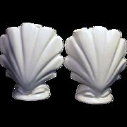 Pair of Ceramic White Seashell Vases