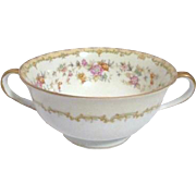 Noritake Double Handled Soup Bowl and Under Plate Columbine Pattern