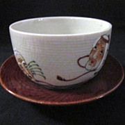 Set of 6 Japanese Hand Painted Soup Bowls/5 Saucers
