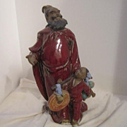 SALE Vintage Chinese Statue Of the Protector of the Children In Clay Signed with Seal Inside