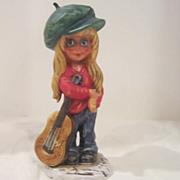 Vintage Goebel Porcelain Girl with Guitar Figurine from West Germany