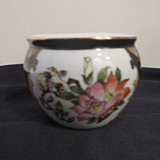 Vintage Small Hand Painted Porcelain Pot with Flowers & Birds, Gold Trim