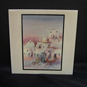 Vintage Signed Tile of Native American Pueblo Scene