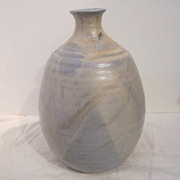 Vintage Blue & Beige Clay Vase from Tubac, AZ