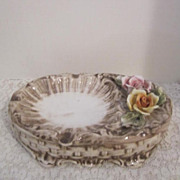 Vintage Capodimonte Ash Tray/Soap Dish with Roses