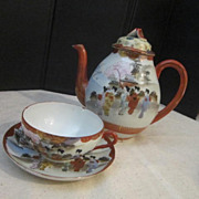 Vintage Oriental Tea Pot with Cup and Saucer