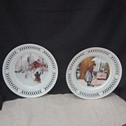 Vintage Pair of Porcelain Decorator Plates from Bing & Grondahl Denmark