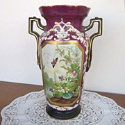 REDUCED Antique Victorian Maroon Vase with Handles, Hole in Bottom,  Scene with Butterflies an