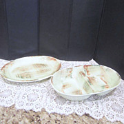 Vernonware Raffia Patterned Small Platter and Divided Vegetable Bowl