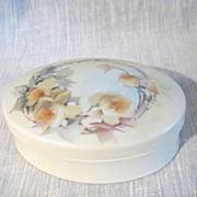Hand Painted Porcelain Austrian Oval Trinket Box
