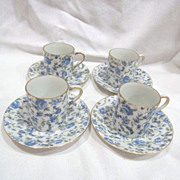 Set of 4 Demitasse Cups and Saucers with Blue Roses