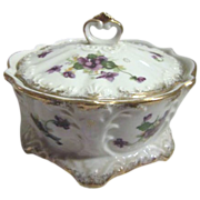 Lidded Bowl with Violets and Gold Edging