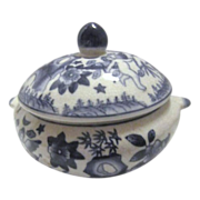 Small Blue & White Covered Vegetable Bowl with Cherubs