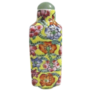 Ceramic Chinese Snuff Bottle with Flowers and Stone Stopper