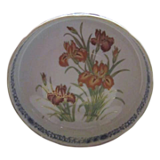 Japanese Hand Decorated Porcelain Bowl with Irises