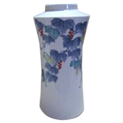 Japanese Vase with Shades of Blue Leaves