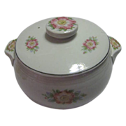 Hall Covered Casserole Server in Rose White Pattern