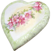 Porcelain Heart Shaped Lidded Box with Roses Across Top