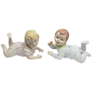 Pair of Hand Painted Piano Babies