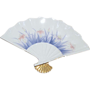 Japanese Porcelain Fan Plate with Pink & Blue Flowers