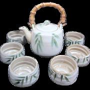 Japanese Tea Set Bamboo Handle on Pot