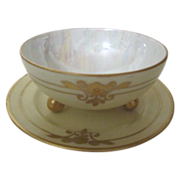 Footed Bowl on Plate with Gold trim, Luster Interior