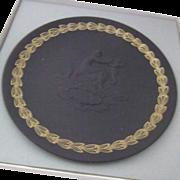 "Black Basalt Wedgwood Coupe Shape Plate ""Mother"""