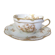 Haviland & Co Limoges Autumn Rose Cup and Saucer