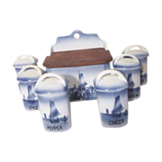 SOLD 7 Piece Spice Set  Blue & White  Sailboats Made in Czechoslovakia
