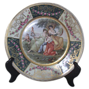 Antique Decorator Plate with 3 Women in Pastoral Scene