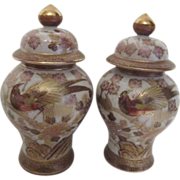 Small Pair of Ginger Jars with Gold Trim and Oriental Pheasant