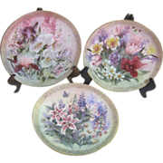 Set of 3 1991 Flower Plates Symphony of Shimmering Beauty Series